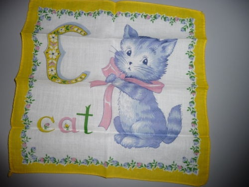 c is for Cat, vintage handkerchief