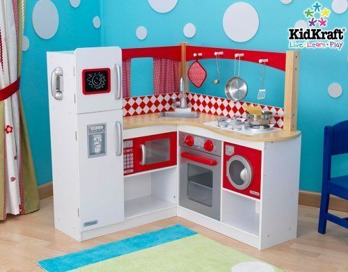 Toys for Girls - Gifts for 5 Year Old Girls - New Kidkraft Wooden Red Corner Kitchen