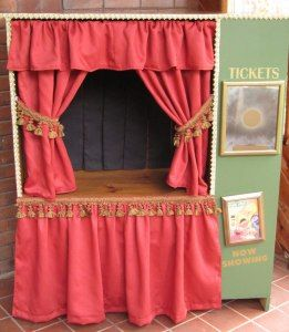 @AimeeandSean McWhorter and @Rob Grundel McWhorter....  and @Annie Compean Edwards...I bet Sean or my Dad could do this... made out of an old TV cabinet! ...  voila!  DIY puppet Theater