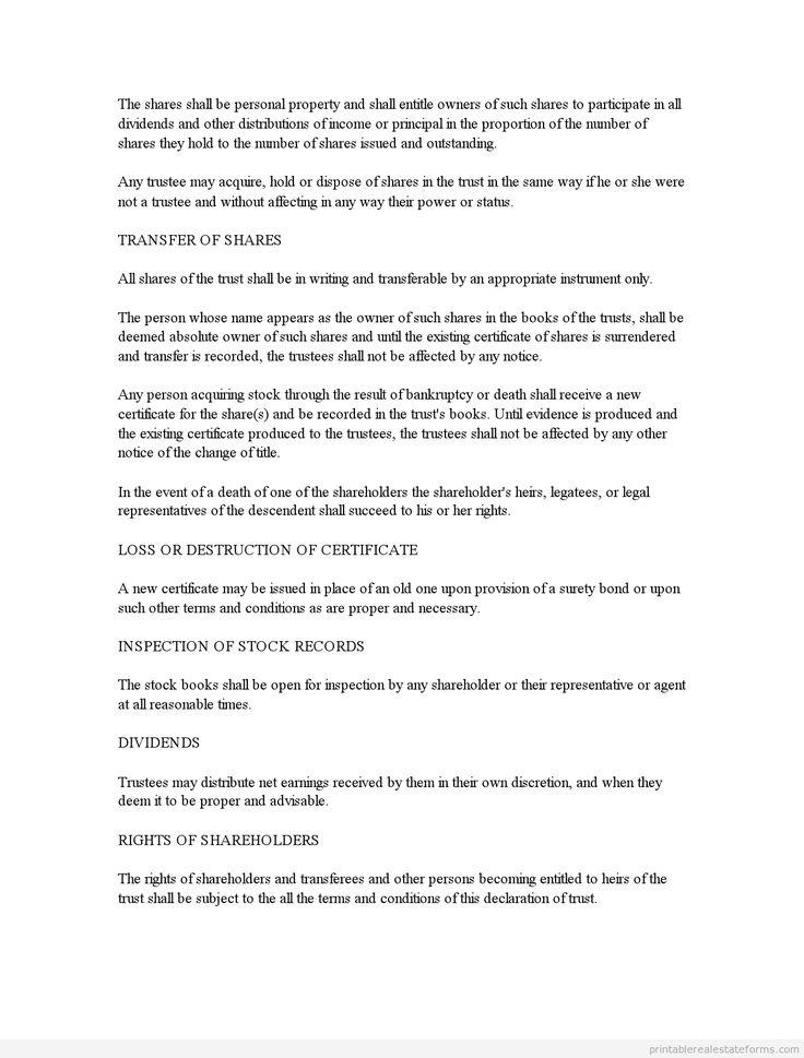sample printable business trust agreement form