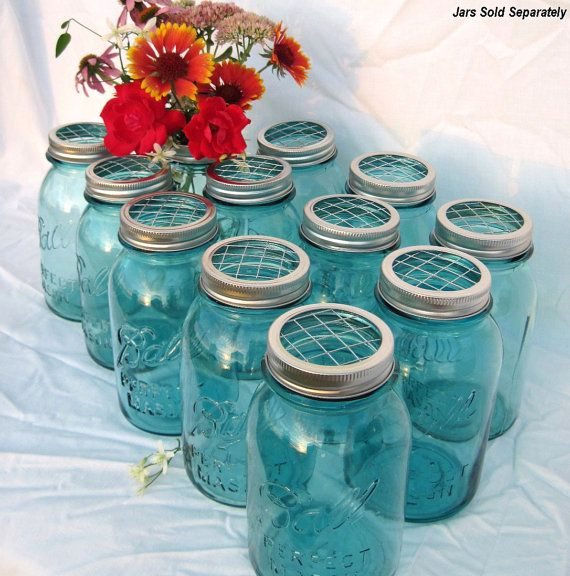 tops for the mason jars to make the flowers stay perky!!! SUCH a great idea!