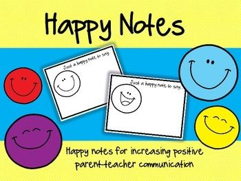 I created these happy notes to be a quick and efficient ways to notify parents when their students are doing WELL! Sometimes teachers get caught up in sending behavior notes home to correct behavior that they forget to notice when students are doing the right thing!