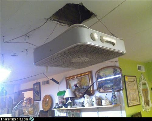 ceiling fan low tech poor efficacy.  I have a couple of guy-relatives that would bat an eye at doing this!
