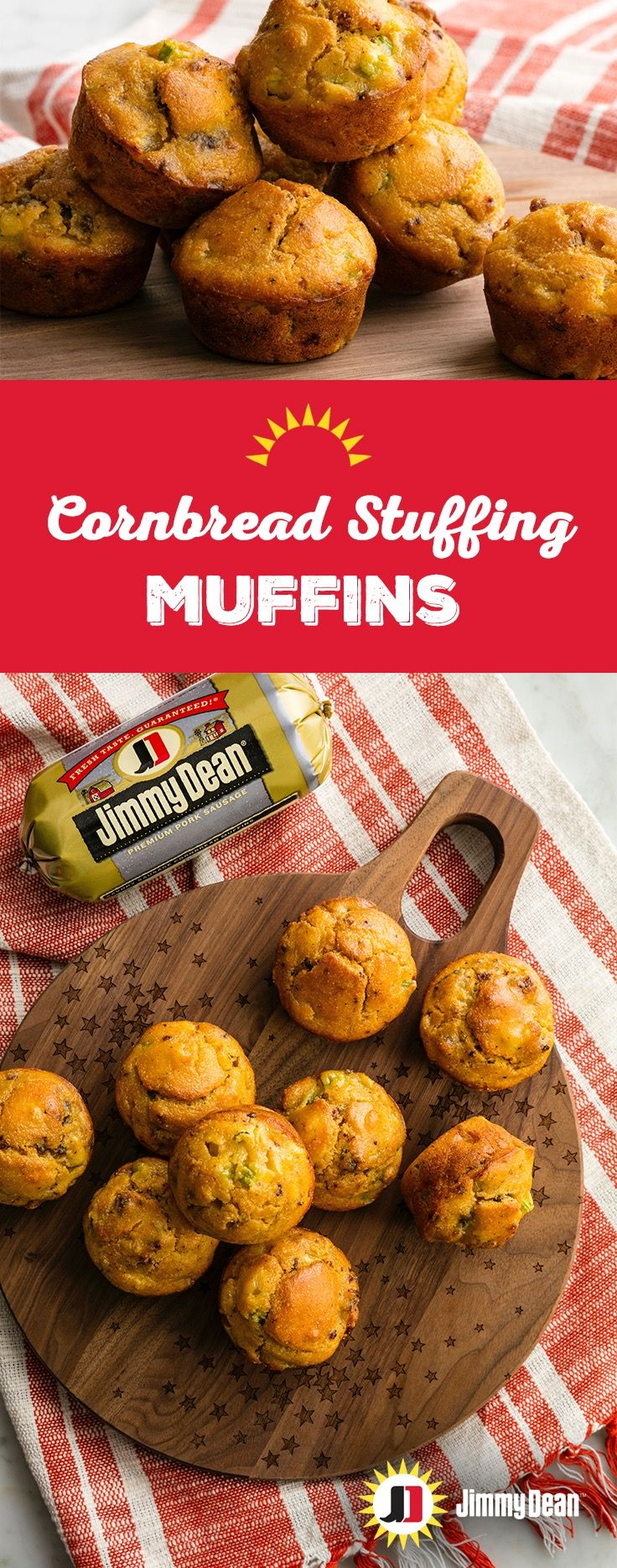 Ditch the serving spoon because it's muffin time. Each Cornbread Stuffing Muffin is like your own serving of stuffing packed with Jimmy Dean Premium Sage Pork Sausage with signature seasonings.