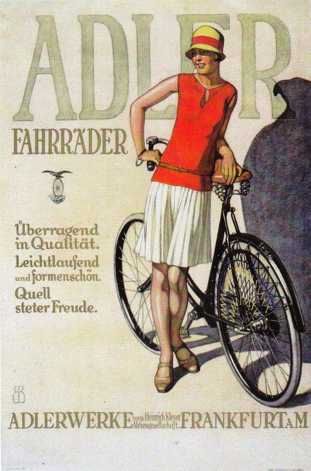 Advertisement for Adler Bicyles. I love the sheer sportiness of what she's wearing in this - sportswear came to the fore with the work of Patou and Chanel in the 1920s.