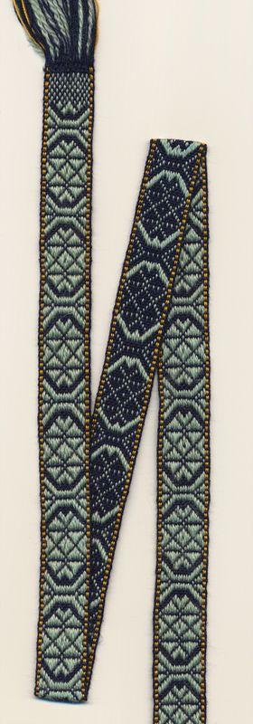 Woolen band from the book Folkliga Band. Scandinavian rigid heddle loom weaving. The band woven by Marijke van Epen