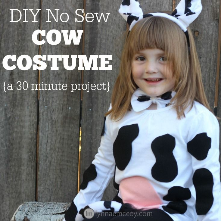 This cute cow costume takes just 30 minutes to make, and it costs less than $20!