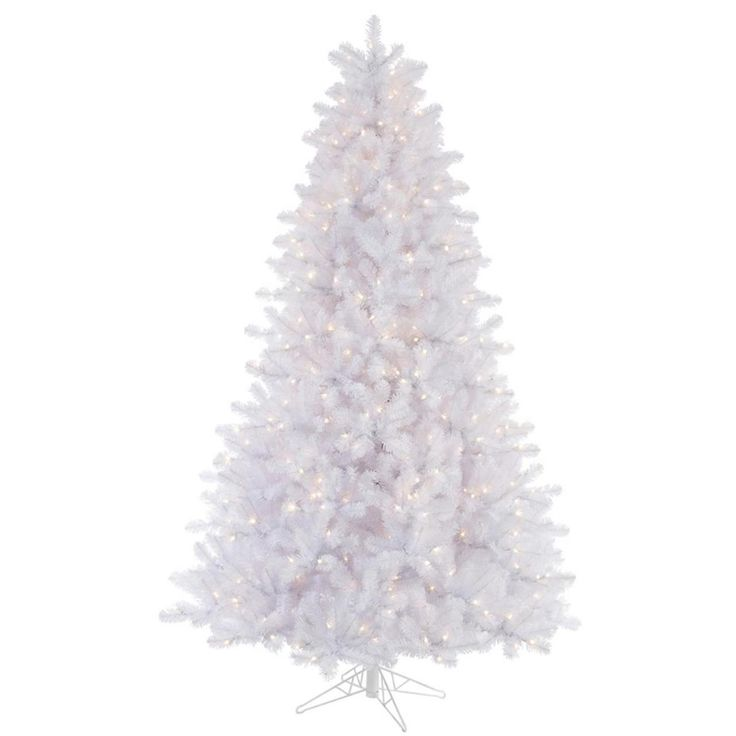 6.5' Pre-Lit Crystal White Artificial Christmas Tree - Multi-Color Lights | ChristmasCentral
