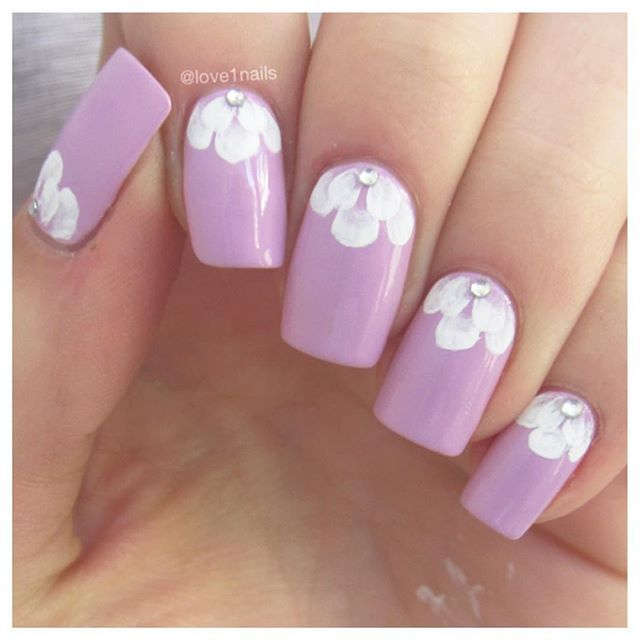 Lavender Nails with White Tips of Flowers