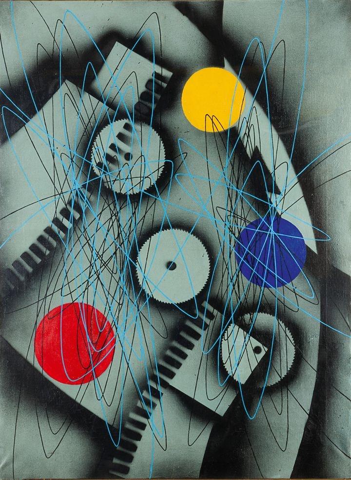 """CRIPPA ROBERTO   """"Spirale"""" 1952  80x60 olio su tela  Opera firmata e datata al retro  Autentica del figlio su fotografia  Già Galleria Accademia Torino (etichetta al retro)  Esp.: I grandi Maestri del Novecento da Pablo Picasso a Virgilio Guidi, città di Asiago luglio - settembre 2005"""