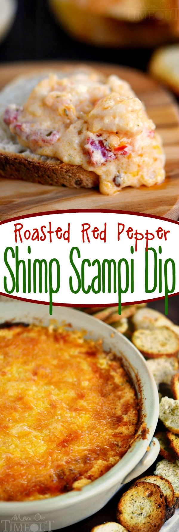 This Roasted Red Pepper Shrimp Scampi Dip is the perfect addition to your game day menu!