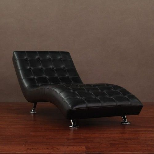 Modern Black Leather Chaise Lounge Lounger Chair New