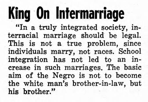 Martin Luther King on Intermarriage