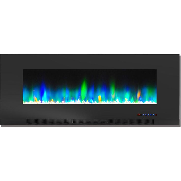 Hanover 50 In Wall Mount Electric Fireplace In Black With Multi
