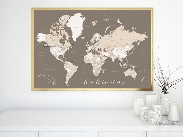Custom quote world map print - neutrals world map with cities. Color combination: earth tones #PremadeColorMapPrint #CustomDesignedPrint #PrintedProduct