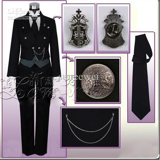 Wholesale Anime Costumes - Buy New Black Butler Kuroshitsuji Sebastian Michaelis Cosplay Costume + Wig + 5 Accessories + Watch, $81.52 | DHg...