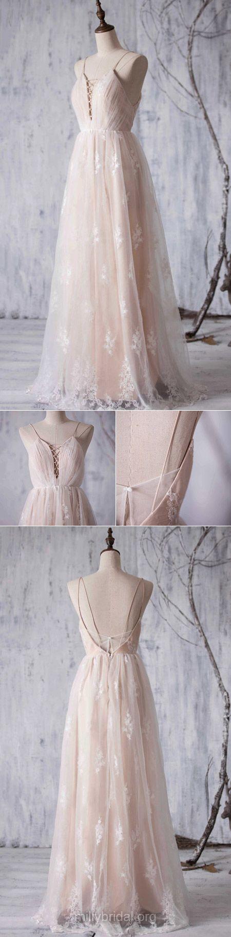 2018 Bridesmaid Dresses Long, Champagne Bridesmaid Dresses A-line, V-neck Bridesmaid Dresses Lace, Tulle Appliques Bridesmaid Dresses Backless Fashion