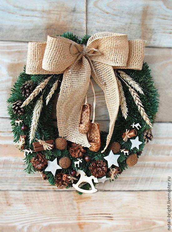 Купить Новогодний венок на стену в Эко-стиле - новогодняя композиция, новый год 2016, новогодний сувенир