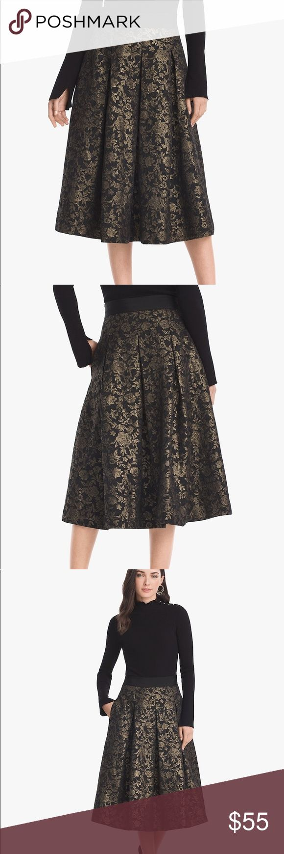 """White House Black Market Flare Skirt Brand new with tag, already sold out on website✌🏻 This party-ready skirt has a black waistband to keep things flattering, while the gold floral jacquard gives it an unexpected play on texture. The best part? We gave it side seam pockets.  Black with gold floral jacquard midi fit-and-flare skirt Sits at waist; hits middle of calf Black waistband; side seam pockets Hidden side zip with hook-and-eye closure Fully lined Approx. 32 1/2"""" center back length…"""