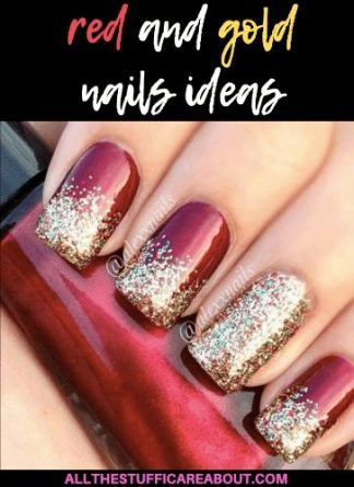 Nails design glitter red silver 60 best Ideas