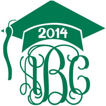 Cute Graduation Gift Idea Graduation Cap Monogram Decal with Vine Font - Multiple Colors