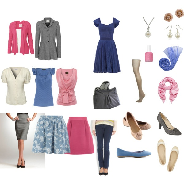 Minimalist Ispiration-- A simple wardrobe in colors-not just neutrals! Pick flattering, coordinating colors: Blue, rose, cream and gray 10-Piece Wardrobe with accessories. Light summer/soft classic.    Cute dress!