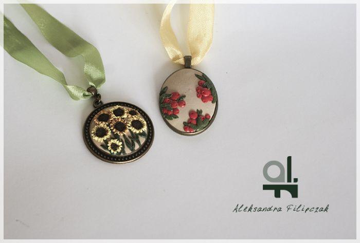 Wisior, naszyjnik z mas polimerowych, handmade, polymer clay, rękodzieło, biżuteria
