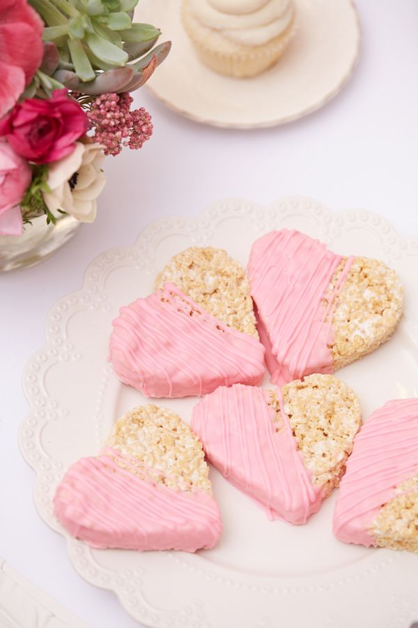 Pink dipped Krispie treats for a Valentine's Day Dessert Party