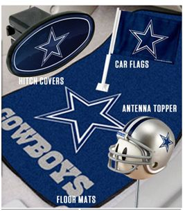 Great place to find Dallas Cowboys auto gear (hitch covers, car flags, antenna toppers, key chains, licence plates, floor mats)