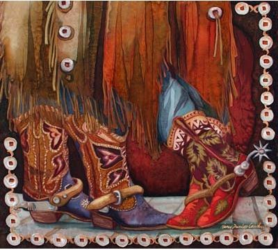 Nancy Cawdrey, Contemporary Western Artist from Bigfork MT, paints Cowboy art, western art, wildlife art. Western silk paintings and oil painting.