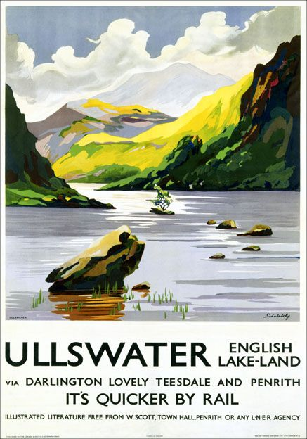 Poster produced by London & North Eastern Railway (LNER) to promote rail services to Ullswater in The Lake District, Cumbria. The service went via Darlington, Teesdale and Penrith and the poster shows a beautiful scene of Ullswater Lake with colourful hills in the background. 1923-1947. Artwork by Schabelsky.