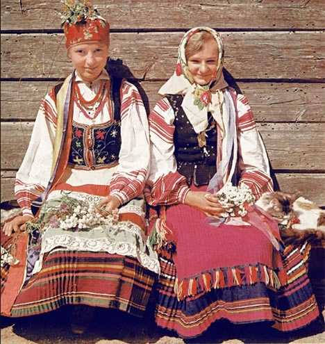 Belarus, the area in Russia that is landlocked with all sorts of ethnicities. These are Russian folklore dressed women.