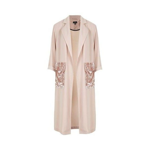 Topshop Velvet Pocket Duster Coat featuring polyvore, women's fashion, clothing, outerwear, coats, nude, pocket coat, duster coat, pink coat, lightweight coat and topshop coat