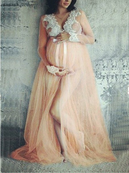 d2ea00c9adbe Nude Lace Grenadine Bowknot Slit Deep V-neck For Babyshower Elegant  Maternity Maxi Dress