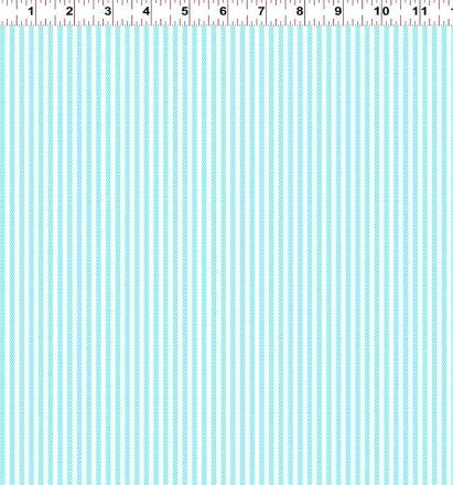 Clothworks - Penguin&Fish Animal ABCs - Small Stripes Blue