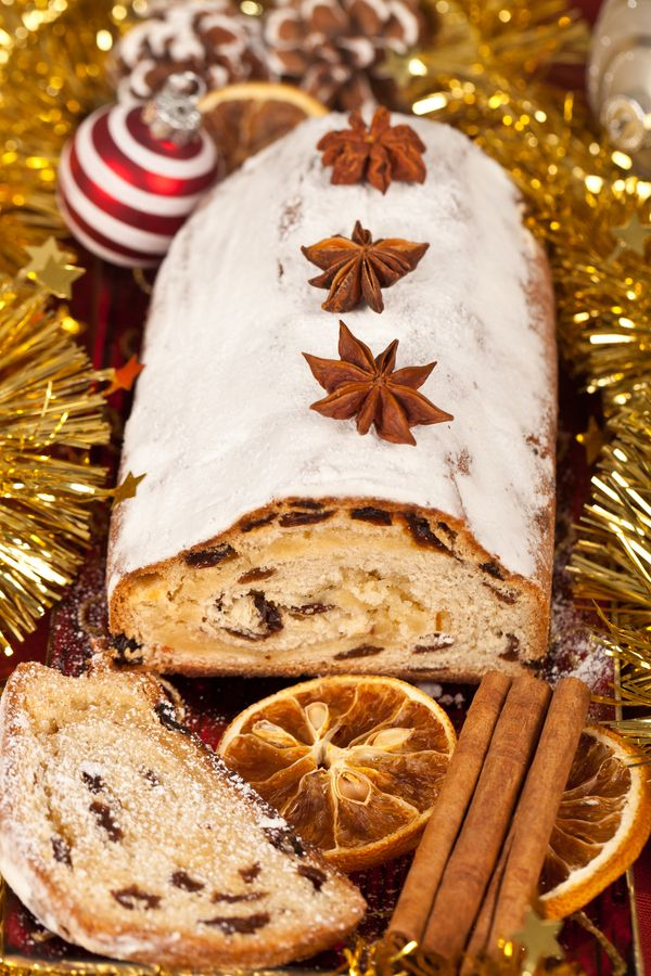 Christmas stollen (sweet yeast pastry with dried fruit)