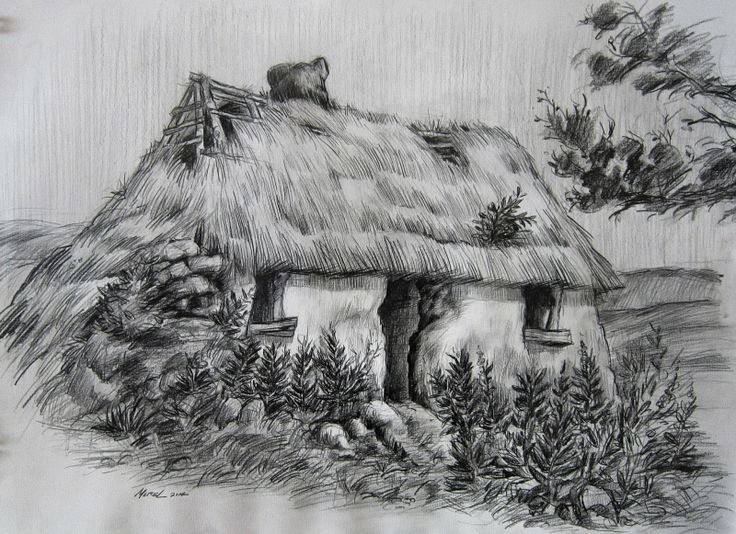 Jean Morel Little Irish Cottage Graphite Sketch