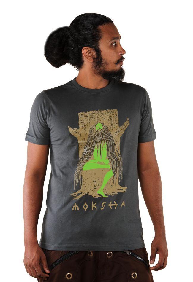 Moksha Men's T shirt,Indian Yogi T shirt,Indian Sadhu,Spiritual Clothing