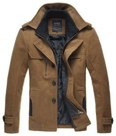 Casual Tan Corduroy Pea Coat // can i have this