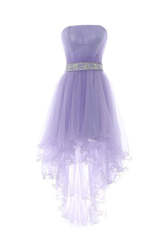 Lavender High Low Homecoming Dress Featuring Strapless Straight Across Ruched Bodice with Beaded Embellished Belt
