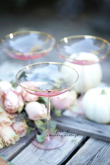 Friday Favorites - Blush wine glasses & drippy wax candles - FRENCH COUNTRY COTTAGE