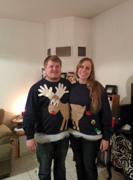 Pin for Later: 35 Cheap and Easy Ugly Christmas Sweater DIYs Reindeer Games A cute reindeer couple Christmas sweater pair takes no time at all.