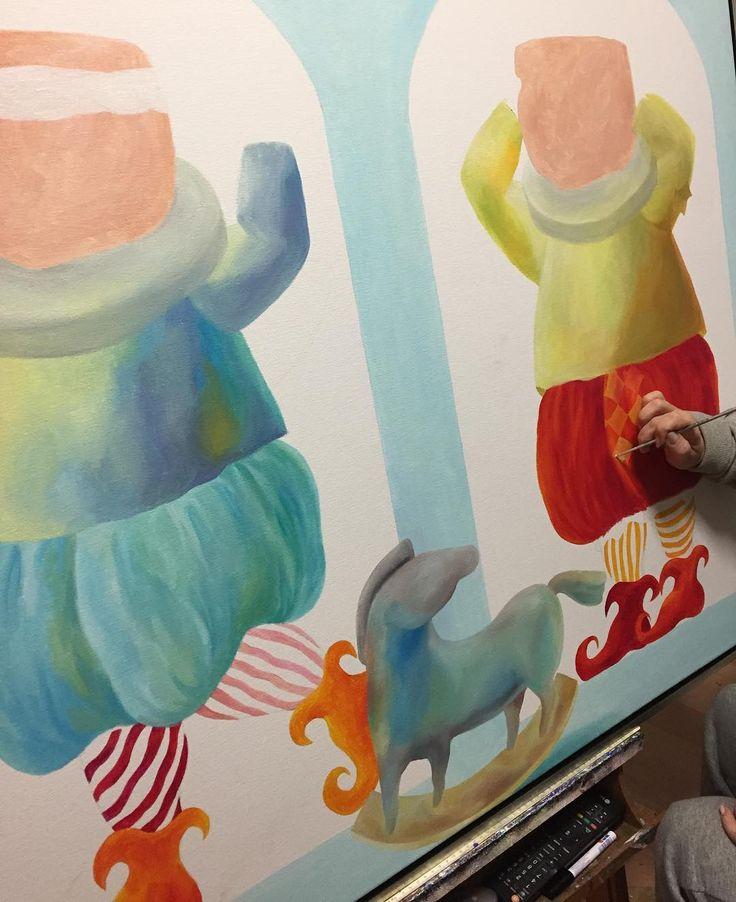 Work in progress on a new  #painting  by #Yelena - http://ift.tt/1XRnl39 .. #art #propertstyling #interiorstyling #decorative #interiodesign #bondi #sydney #melbourne #arte #girls #artsy #workinprogress #modernart #gallery #canvas  #instaart #instagood #follow4follow  #draw #fantasy
