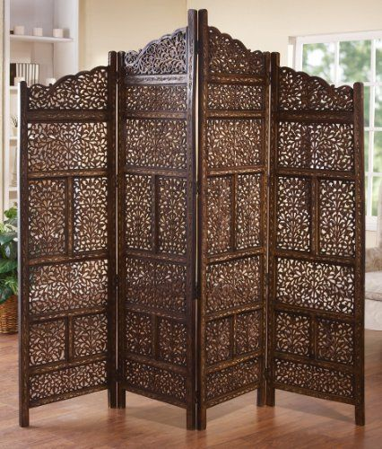 Carved Wood 4 Panel Room Divider Screen Brown Red Home D Cor 34006 Woodland Imports Http