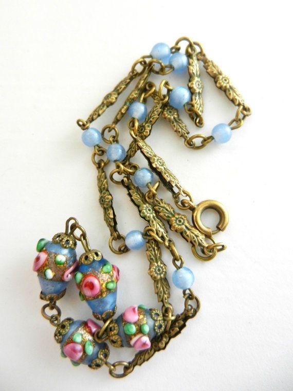 Deco Venetian Murano Blue Lampwork Glass Bead & by RAKcreations