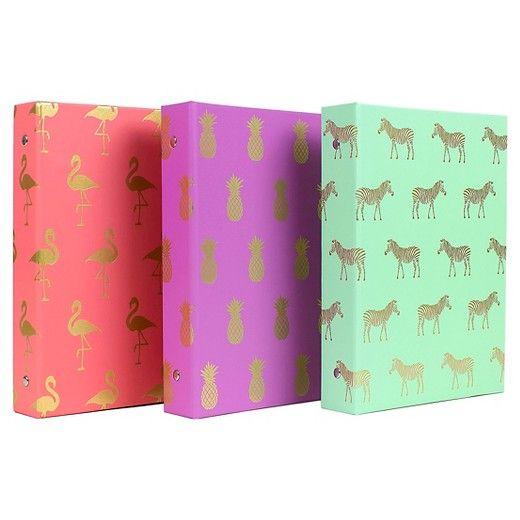 Greenroom, 1-inch 8.5x11 3-ring binder in pink/flamingo, purple/pineapple, and mint/zebra, $4 via Target
