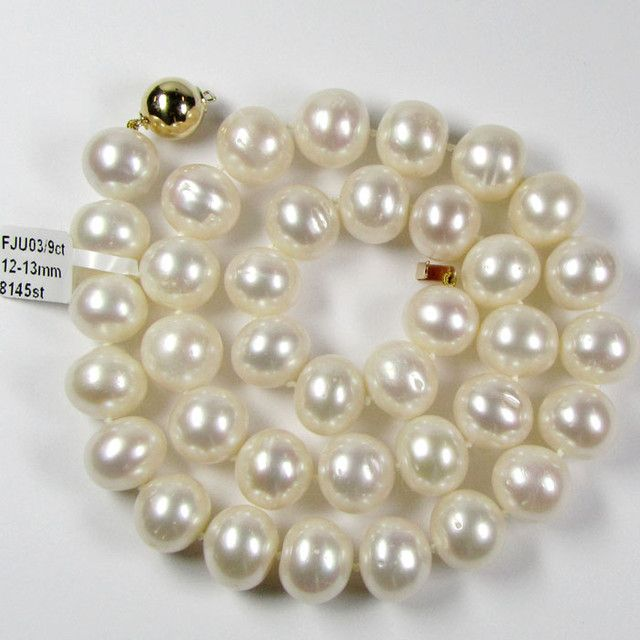 STYLISH 9K GOLD PEARL 12-13 MM NECKLACE  GTJA 448  pearl necklace
