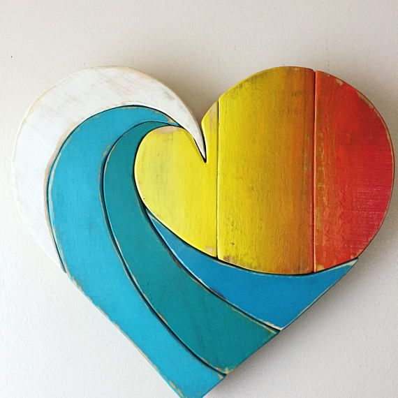 Wave Rainbow Sunset Pallet Small Wood Heart wall hanging