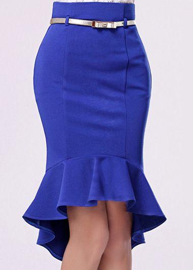 Charming High Low Hem Design Blue Mermaid Skirt | color & shape