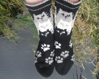 knit socks with cat wool socks knitted socks Scandinavian